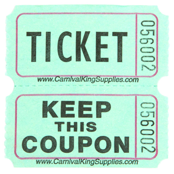 carnival king green 2 part raffle tickets 2000 roll