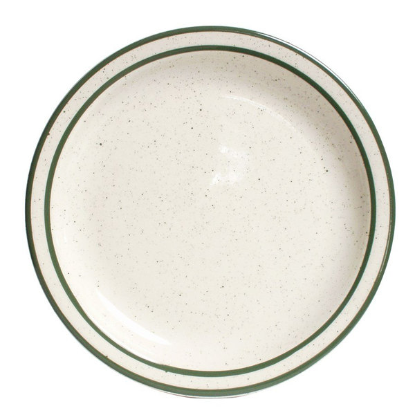 "Tuxton TES-005 Emerald 5 1/2"" Green Speckle Narrow Rim China Plate - 36/Case"
