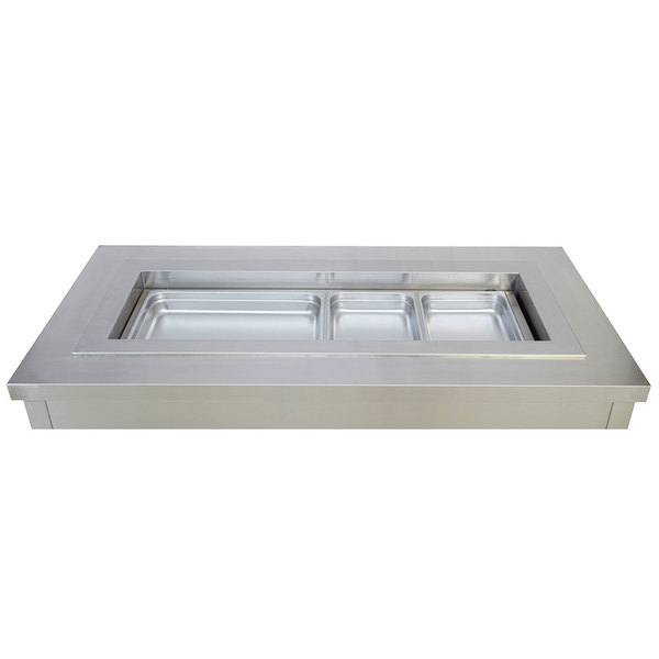 """Wells RCP-7400SL 92"""" Four Pan Drop In Slim Line Refrigerated Cold Food Well with Recessed Pan Compartments"""