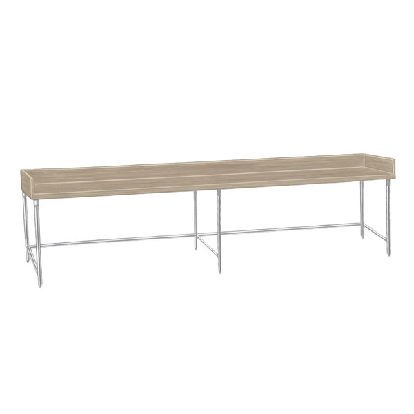 "Advance Tabco TBS-308 Wood Top Baker's Table with Stainless Steel Base - 30"" x 96"""