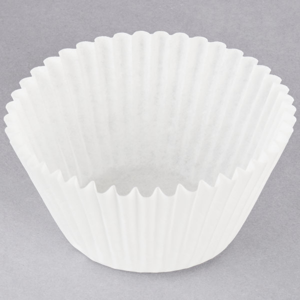 Hoffmaster 610070 2 1/4 inch x 1 7/8 inch White Fluted Baking Cup - 10000/Case