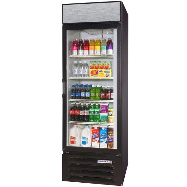 Beverage Air LV23-1-B-LED Black Lumavue Refrigerated Glass Door Merchandiser with LED Lighting - 23 Cu. Ft.