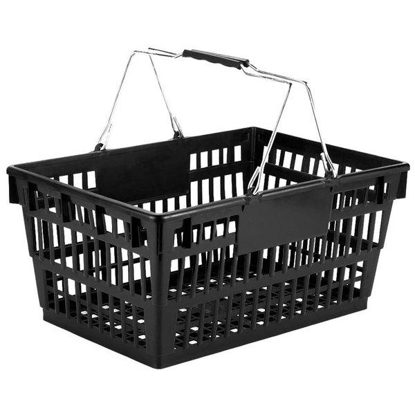 "Winholt LSB-1BK Black 19"" x 13"" Plastic Grocery Market Shopping Basket"