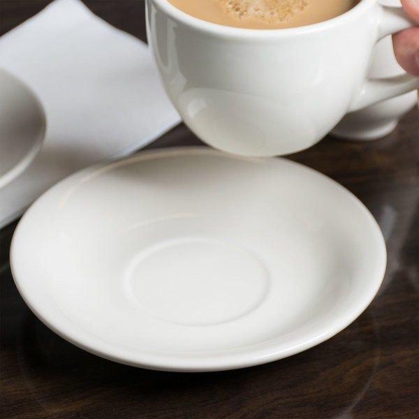 """Choice 6"""" Ivory (American White) Wide Rim Rolled Edge Stoneware Saucer - 36/Case Main Image 2"""