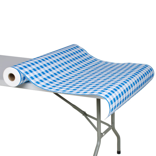 """40"""" x 300' Paper Table Cover with Blue Gingham Pattern"""