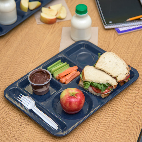 """Carlisle 4398035 10"""" x 14"""" Cafe Blue Heavy Weight Melamine Left Hand 6 Compartment Tray"""