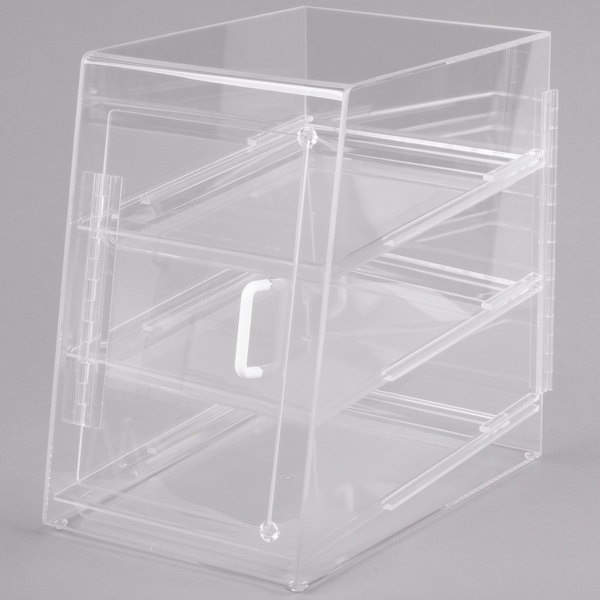 Cal-Mil 263-S Classic Three Tier Acrylic Display Case with Front and Rear Doors - 11 1/2 inch x 17 inch x 17 inch
