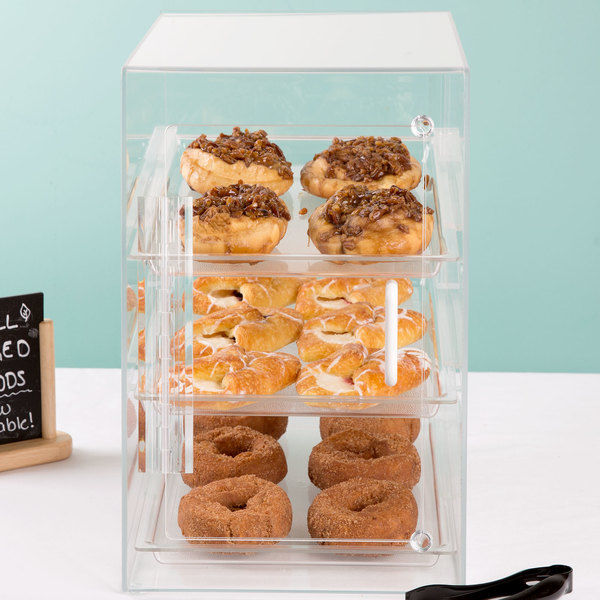 """Cal-Mil 263-S Classic Three Tier Acrylic Display Case with Front and Rear Doors - 11 1/2"""" x 17"""" x 17"""""""