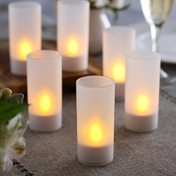 6-Piece Set Flameless Rechargeable Tea Light Candles with Frosted Plastic Cup Main Image 2