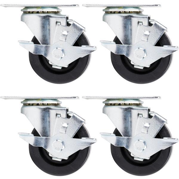"Beverage Air 00C31-031ABB 3"" Plate Casters - 4/Set"