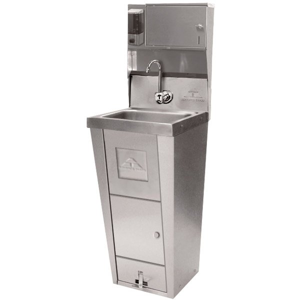 Advance Tabco 7-PS-99 Hands Free Hand Sink with Pedestal Base, Soap and Towel Dispenser, and Trash Bin