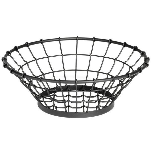 """Tablecraft GM15 Grand Master Round Black Wire Basket - 15"""" x 5 1/4"""""""