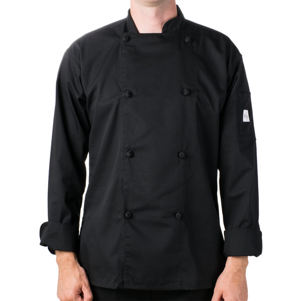 "Mercer Culinary M61020BK5X Genesis Unisex 64"" 5X Customizable Black Double Breasted Traditional Neck Long Sleeve Chef Jacket with Cloth Knot Buttons"