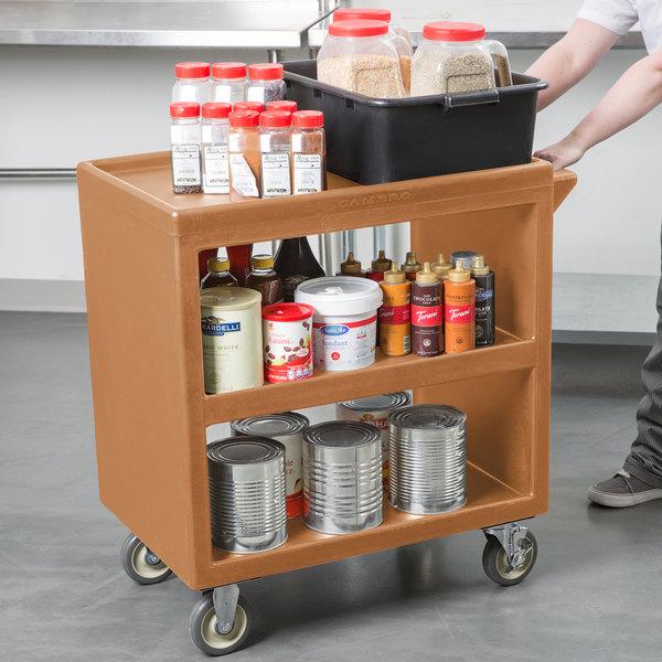 "Cambro BC230157 Coffee Beige Three Shelf Service Cart - 33 1/4"" x 20"" x 34 5/8"" Main Image 3"