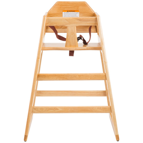Tablecraft 6565004 Stacking Hardwood High Chair with Natural Finish, Unassembled Main Image 1