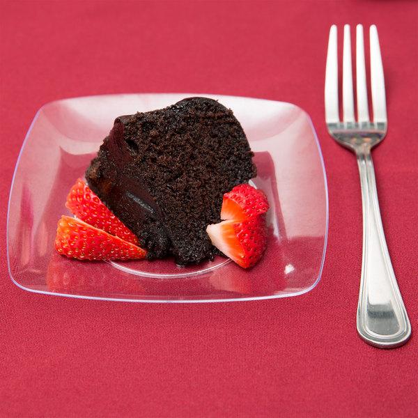 "Fineline Renaissance 1506-CL 5 1/2"" Clear Customizable Plastic Dessert Plate - 120/Case Main Image 4"