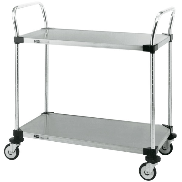 "Metro MW105 Super Erecta 18"" x 36"" x 38"" Two Shelf Standard Duty Stainless Steel Utility Cart"