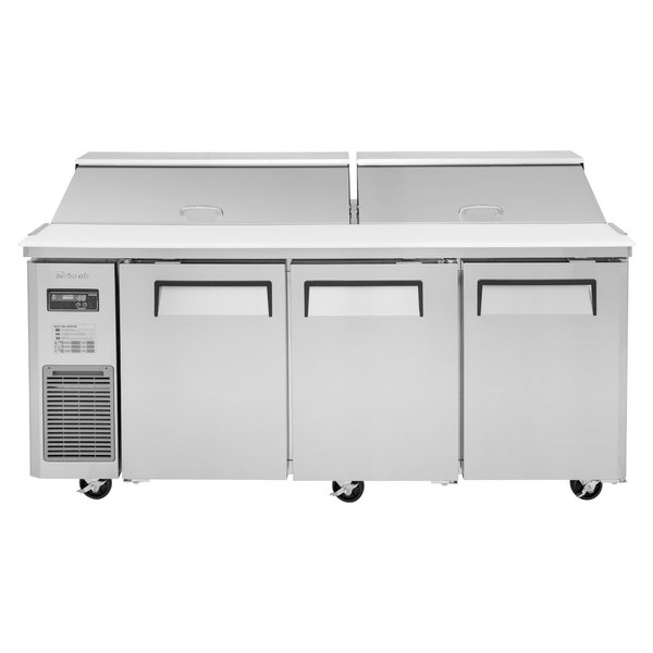 "Turbo Air JST-72 72"" 3 Door Side Mount Compressor Refrigerated Sandwich Prep Table"