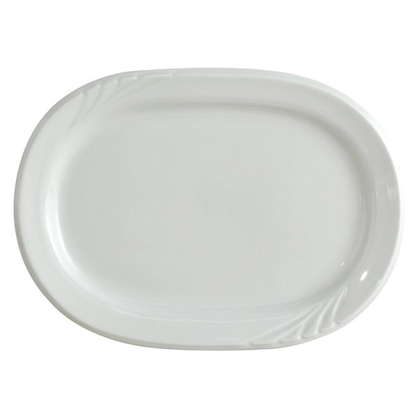 "Tuxton YPH-137 Sonoma 13 7/8"" Bright White Embossed Rim China Platter - 12/Case"