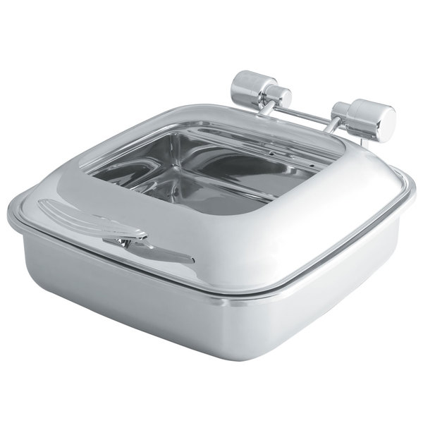 Vollrath 46135 6 Qt. Intrigue Square Induction Chafer with Glass Top and Porcelain Food Pan
