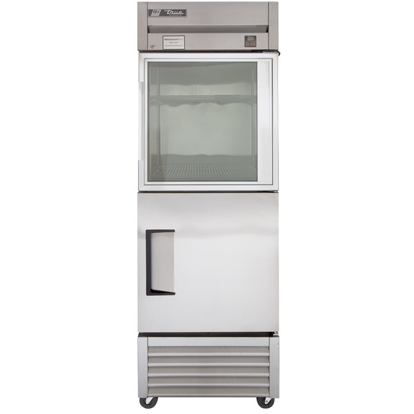True TS-23-1-G-1 Stainless Steel Single Section Half Door Reach In Refrigerator with Glass Top and Solid Bottom
