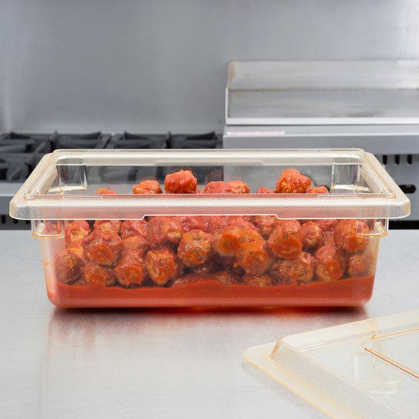 """Cambro 12186CW464 Camwear 12"""" x 18"""" x 6"""" Yellow Polycarbonate Food Storage Box"""