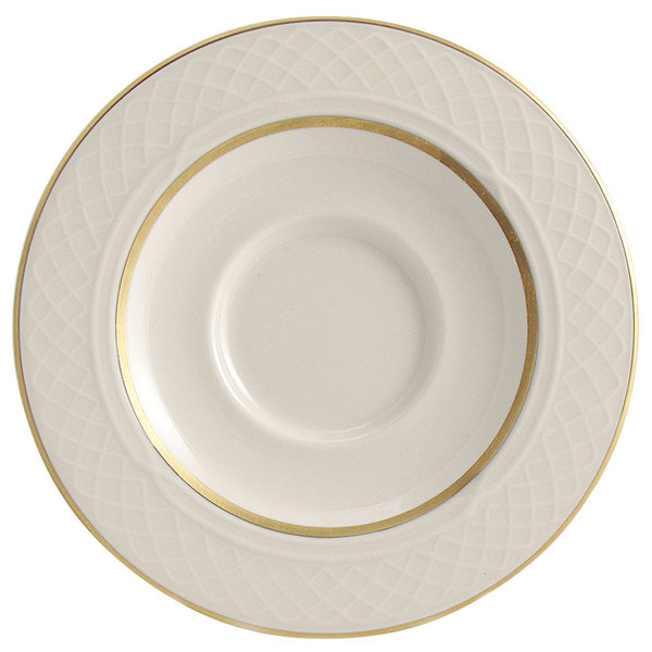 """Homer Laughlin 1420-0355 Westminster Gothic Off White 5 5/8"""" China Saucer - 36/Case"""