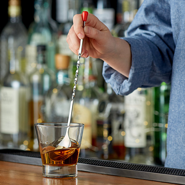 """11/"""" Stainless RED BALL BAR SPOON Twisted Handle Cocktail Stirrer"""