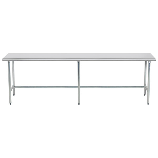 """Advance Tabco TGLG-369 36"""" x 108"""" 14 Gauge Open Base Stainless Steel Commercial Work Table"""