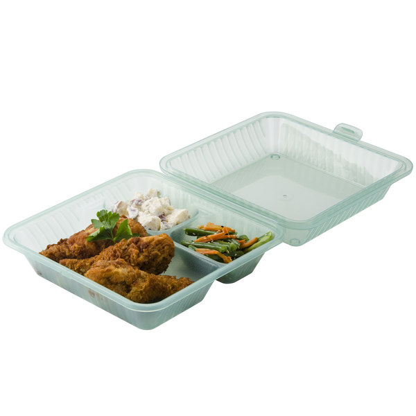"""GET EC-09 9"""" x 9"""" x 3 1/2"""" Jade Green Customizable 3-Compartment Reusable Eco-Takeouts Container - 12/Case"""