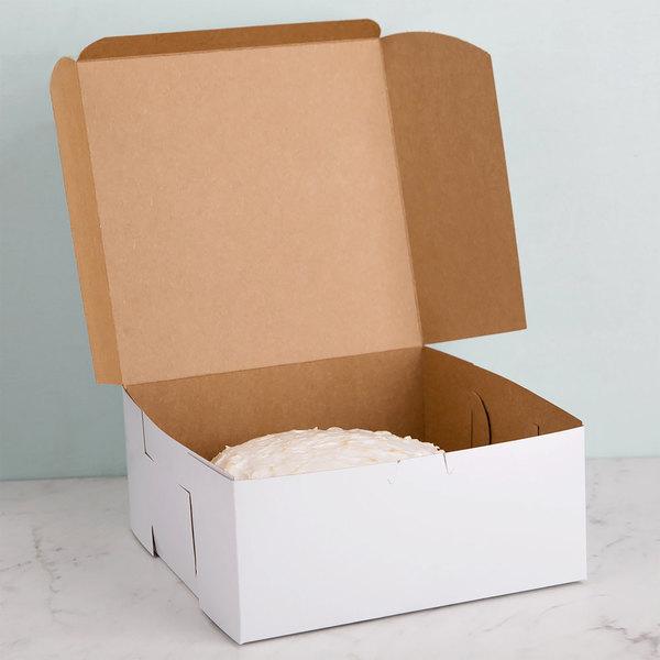 "Southern Champion 961 9"" x 9"" x 4"" White Cake / Bakery Box - 10/Pack"