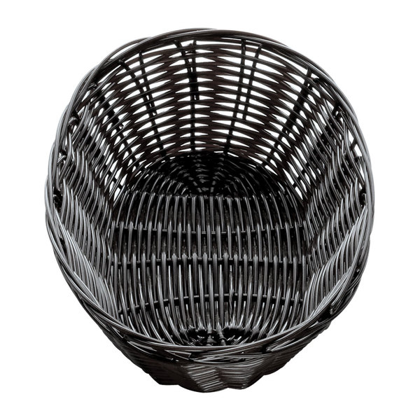 "Tablecraft 2474 9"" x 6"" x 2 1/4"" Black Oval Rattan Basket - 12/Pack"