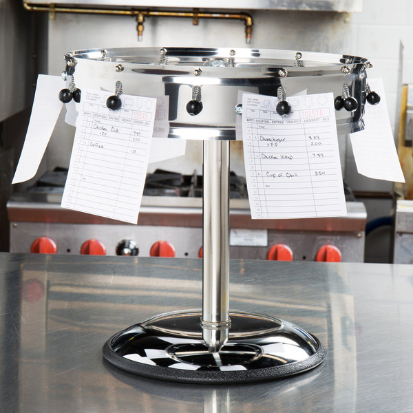 "Carlisle 3812MP 14"" Stainless Steel 12 Clip with Pedestal Base Portable Order Wheel Ticket Holder Main Image 8"