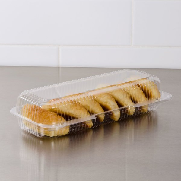 """Dart PET90UT1 StayLock 13 3/8"""" x 6 3/4"""" x 2 5/8"""" Clear Hinged PET Plastic 13"""" Strudel Container - 200/Case"""