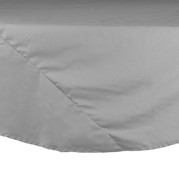 "72"" Gray Round Hemmed Polyspun Cloth Table Cover"