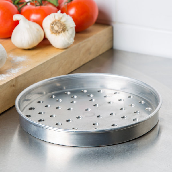 "American Metalcraft PHA4008 8"" x 1"" Perforated Heavy Weight Aluminum Straight Sided Pizza Pan"
