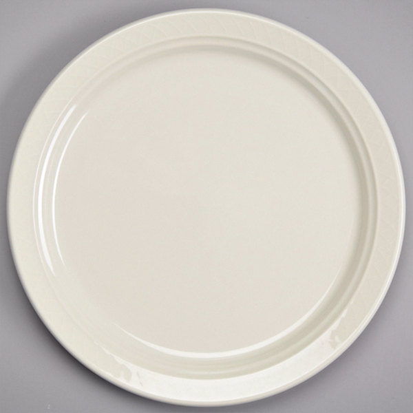 "Homer Laughlin 3447000 Gothic 6 1/4"" Ivory (American White) Undecorated Narrow Rim China Plate - 36/Case"
