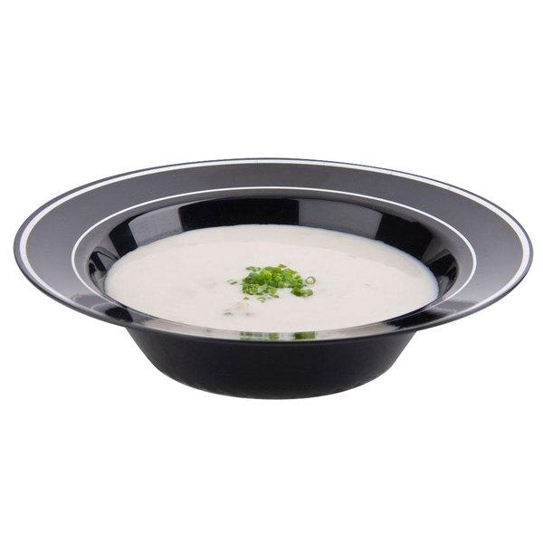 Fineline Silver Splendor 512-BKS Black 12 oz. Plastic Soup Bowl with Silver Bands - 150/Case