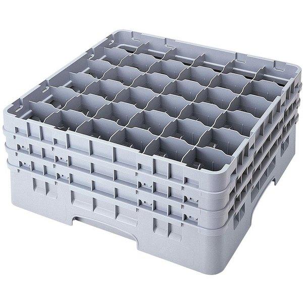"Cambro 36S800151 Soft Gray Camrack Customizable 36 Compartment 8 1/2"" Glass Rack"