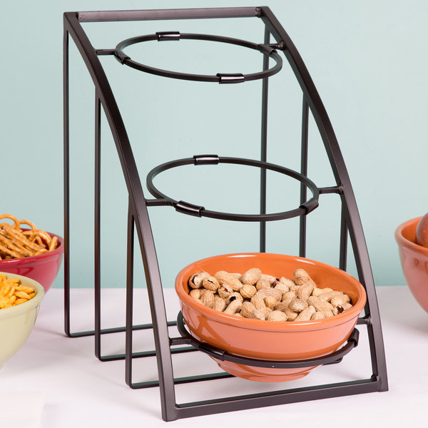 "Cal-Mil 1712-8-13 Mission 8"" Black Round Bowl Display Stand - 10 1/2"" x 15 1/2"" x 15 1/2"" Main Image 8"