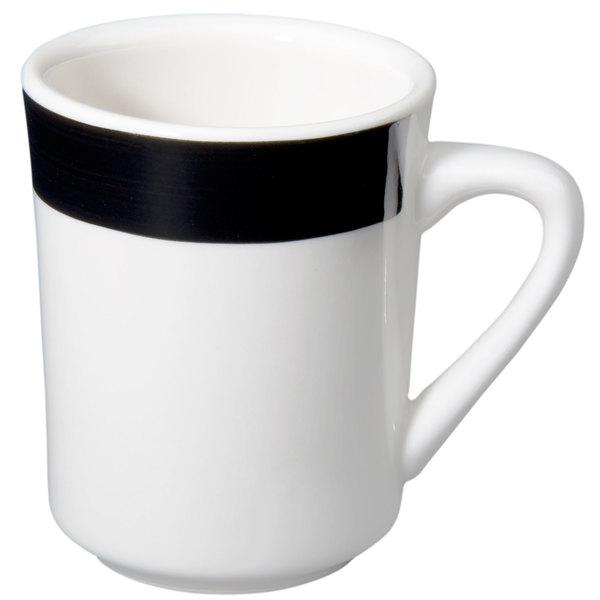 CAC R-17-BLK Rainbow Tierra Coffee Mug 8.5 oz. - Black - 36/Case Main Image 1