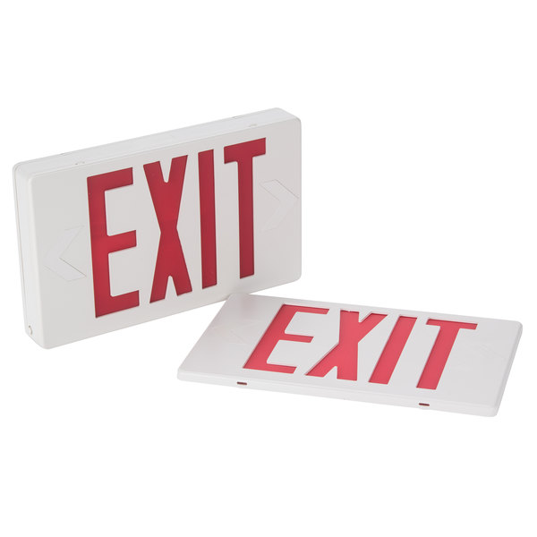 Lighted Exit Sign with Illuminated Double Face, Red Letters and Battery Backup (120V)