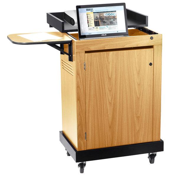 Oklahoma Sound SCL-OK Smart Cart Lectern - Light Oak Finish