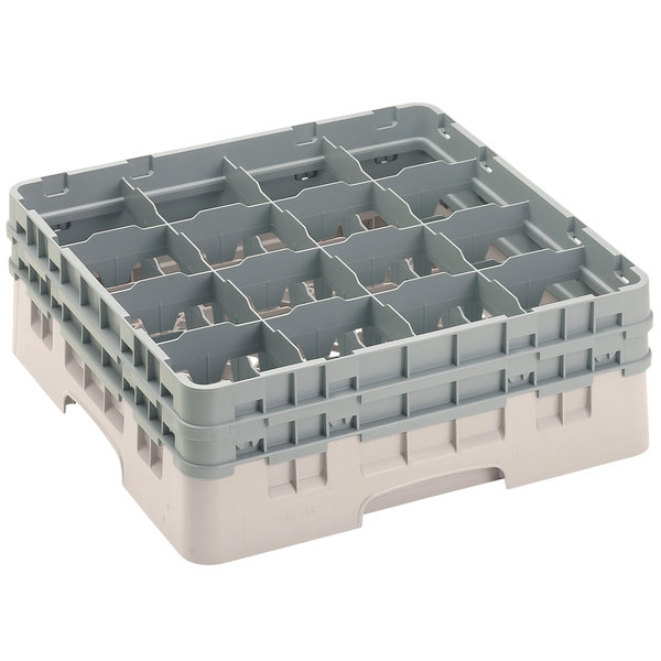 "Cambro 16S534184 Camrack 6 1/8"" High Customizable Beige 16 Compartment Glass Rack Main Image 1"