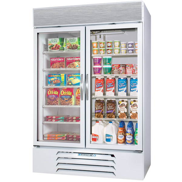 Configuration B Beverage Air Market Max MMRF49-1-WW-LED White 2 Section Glass Door Dual Temperature Merchandiser - 49 Cu. Ft.