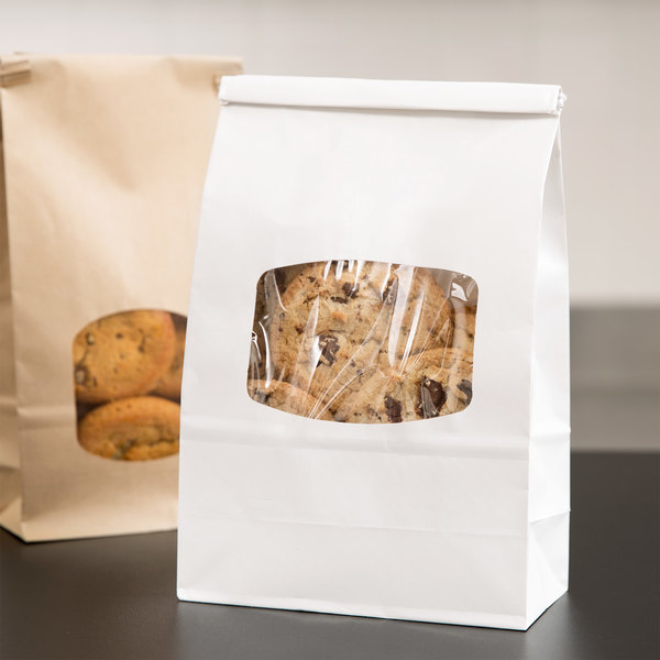 1 lb. White Paper Cookie / Coffee / Donut Bag with Window and Tin Tie Closure - 500/Case Main Image 2