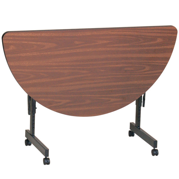 "Correll EconoLine Mobile Half Round Flip Top Table, 24"" x 48"" Adjustable Height Melamine Top, Wood Finish - FT2448MR"