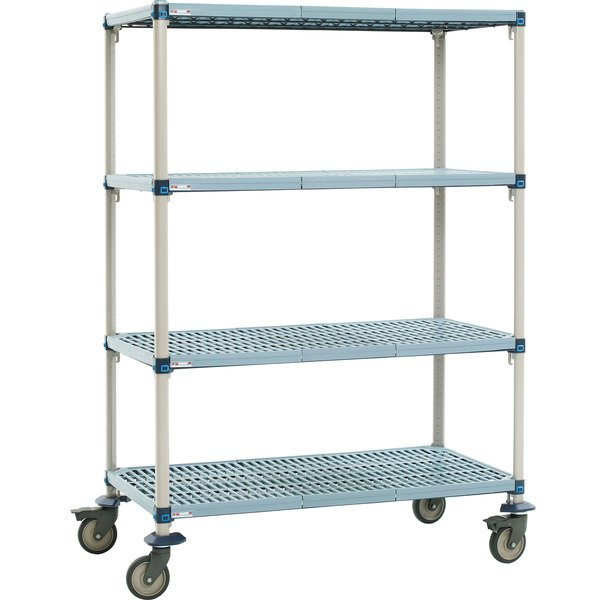 "Metro Q536EG3 MetroMax Q Open Grid Shelf Cart with Polyurethane Casters - 36"" x 24"" x 69"""