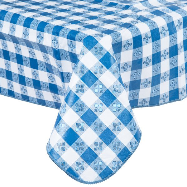 Blue checkered gingham vinyl table cover drapes over a square edge