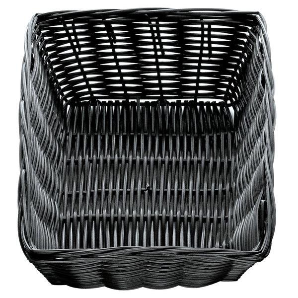 "Tablecraft 2472 9"" x 6"" x 2 1/2"" Black Rectangular Rattan Basket - 12/Pack"